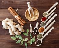 Spice assortment on a wooden table Stock Photos