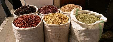Spice Souk Dubai. Bags of dried herbs and Spices outside a shop in the Spice Souk Dubai. Copyspace royalty free stock images
