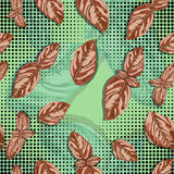 Spice basil leaves seamless pattern on a background. Vector Royalty Free Stock Photo