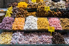 Turkish delight, also known as lokum, sold in the famous Spice Bazaar in Istanbul. Spice Bazaar in Istanbul so famous for selling multi kinds of Turkish delight stock images
