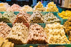 Turkish delight, also known as lokum, sold in the famous Spice Bazaar in Istanbul. Spice Bazaar in Istanbul so famous for selling multi kinds of Turkish delight royalty free stock photography