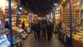 The Spice Bazaar Misir Carsisi or Egyptian Bazaar in Istanbul. ISTANBUL, TURKEY - FEBRUARY 15, 2016: The Spice Bazaar Misir Carsisi or Egyptian Bazaar in stock video