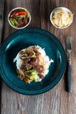 Spice beef with rice. Spice beef with rice and vegetables Stock Image