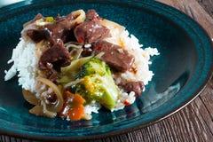 Spice beef with rice. Spice beef with rice and vegetables Royalty Free Stock Photo
