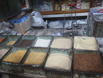 Spice Bins. Typical spice shop in India Stock Photography