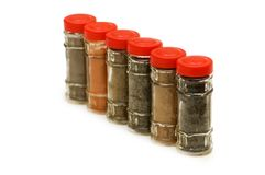 Spice bottles isolated Stock Photography