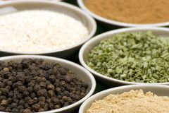 Spice Bowls. Various types of dried Spices in Bowls Royalty Free Stock Images
