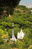 Spice-cake houses in Park Guell by Antoni Gaudi. Barcelona, Spain Royalty Free Stock Images