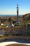 Spice-cake houses in Park Guell by Antoni Gaudi. Barcelona, Spain royalty free stock image