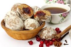 Spice-cakes, Raspberry And Tea Stock Image