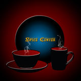Spice center. Spice center with cup, saucer and a plate on maroon background vector illustration