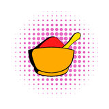 Spice in ceramic bowl icon, comics style Royalty Free Stock Images
