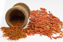 Spice chilly and mortar Royalty Free Stock Photography