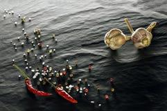 spice Close up da pimenta de pimentão, das pimentas pretas, brancas e vermelhas, do sal e do alho foto de stock