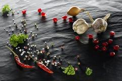 spice Close-up da pimenta de pimentão, das pimentas pretas, brancas e vermelhas, do sal, da salsa, do alho, da cebola e da romã foto de stock royalty free