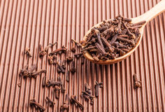 Spice clove in a wooden spoon Royalty Free Stock Photo