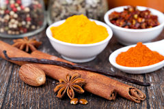 Spice collection. On a wooden table Stock Photo