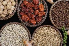 Spice collection on black background Stock Images