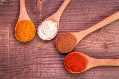 Spice collection. On brown wood stock image