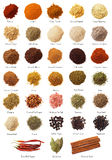 Spice Collection. A collection of 33 spices and seasonings royalty free stock images
