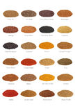 Spice Collection with Titles. Large spice selection with titles, isolated over white background Stock Photography