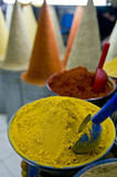 Spice colors. Various spices exposed in a moroccan market Royalty Free Stock Image