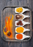Spice curry, paprika, turmeric, anise, nutmeg, cardamom Stock Photography