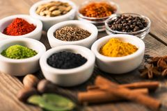 Spice. Curry powder cinnamon paprika table food bowl Royalty Free Stock Photography