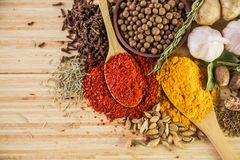 Spice. Curry powder herb seasoning wood cutting board turmeric Stock Photo
