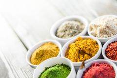 Spice. Curry powder turmeric herb saffron food variation Stock Image