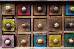 Spice drawers. Photo of colorful wooden spice drawers Royalty Free Stock Photos
