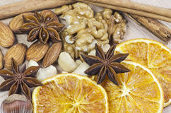 Spice and dried fruits Stock Images