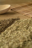 Spice fennel, cumin on a wooden table. Stock Image