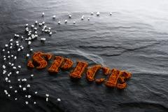 spice Fim à terra da paprika e do sal do mar acima imagem de stock royalty free