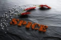 spice Fim à terra da paprika, da pimenta e do sal do mar acima fotos de stock royalty free
