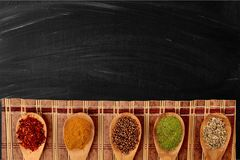 Spice. Food indian culture spoon organic cutting board vegetarian food Stock Photography