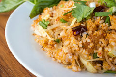 Spice fried rice with pork. Traditional food of Thailand. Stock Photos