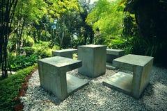 Spice garden. Concrete benches in the middle of the Tropical Spice Garden in Penang Royalty Free Stock Photos