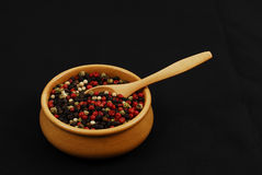 Spice - grain - aroma. Colorful chili spices on black royalty free stock photos