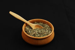 Spice - grain - aroma. Caraway spice on black background Royalty Free Stock Photos