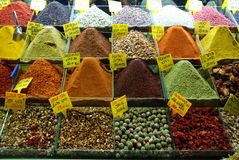 Spice at grand bazaar in Istanbul. Market stall with all different kind of spice and herbs at bazaar in Istanbul, Turkey stock photos