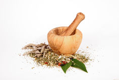 Spice grinder. With various dry spices Royalty Free Stock Photos