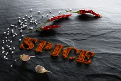 Spice. Ground paprika, chili pepper, garlic and sea salt close up. On a black textural background stock images
