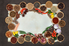 Spice and Herb Abstract Border Stock Image