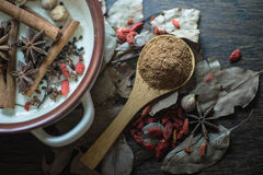 Spice,Herb. Cooking spices, crushed into powder Royalty Free Stock Photo