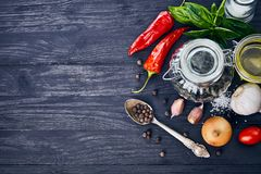 Spice and herb on old wooden board in rustic style copyspace top view. Stock Photo