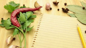Spice and herb with paper tracking stock video footage