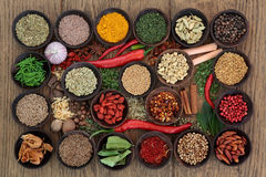 Spice and Herb Sampler. Large herb and spice sampler in wooden bowls and loose over oak wood background Royalty Free Stock Photos