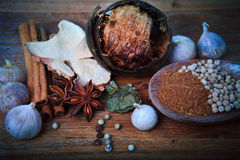 Spice herb on wood table Stock Images