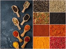 Spice and herbs background, collage of condiments. Royalty Free Stock Image